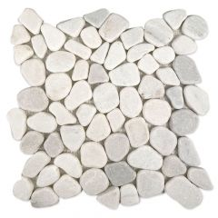 White Marble Pebbles Tumbled Marble Mosaic Tile