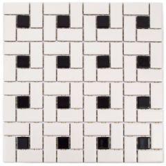 "Alameda Pinwheel 12"" x 12"" Glass & Porcelain Mosaic Tile"