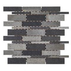 """Ashes Gray 11"""" x 11"""" Interlocking Basalt Mosaic Tile"""