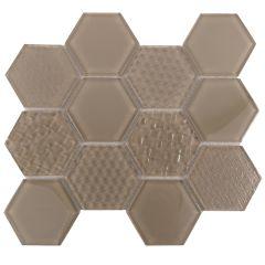 Grand Waterfall Brown Hexagon Pattern Glass Mosaic Tile
