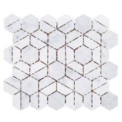 "Bronson White 10"" x 10"" Marble Mosaic Tile"