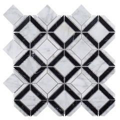 "Carlisle Marquina 11"" x 11"" Geometric Mosaic Tile"