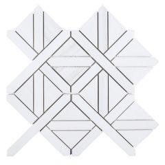 "Cambridge Cottage White 10"" x 10"" Marble Mosaic Tile"