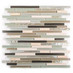 Cocoa Mint Glass Linear Mosaic Tile