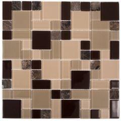 "Cappucino 12"" x 12"" Glass & Stone Mosaic Tile"