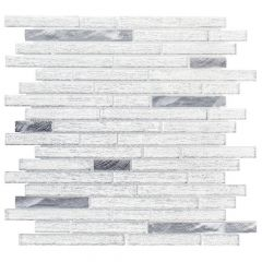 "Ice Pencil White 12"" x 12"" Glass & Metal Mosaic Tile"