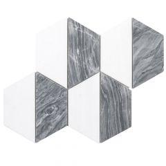"Kensington Gray 10"" x 12"" Honeycomb Marble Mosaic Tile"