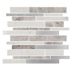 "Nightfall White 12"" x 12"" Interlocking Glass Mosaic Tile"
