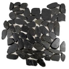 "Florida Tile Black Pearl Flat Pebbles Mosaic Tile 12"" x 12"""