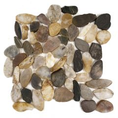 "Florida Tile Mixed Salad Flat Pebbles Mosaic Tile 12"" x 12"""