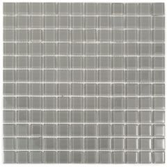 "Pewter Gray 11"" x 11"" Glass Mosaic Tile"