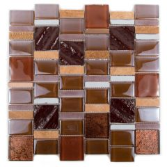 "Academia African Safari 12"" x 12"" Glass Mosaic Tile"
