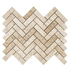 "Sand Dunes Beige 10"" x 12"" Herringbone Natural Stone Mosaic Tile"