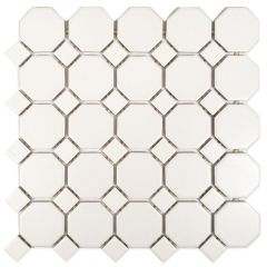 "Sausalito White Octagon Mosaic Ceramic Wall Tile 12"" x 12"""