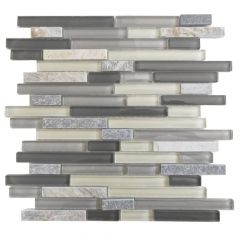 "Sparrow Cream 12"" x 12"" Interlocking Glass & Stone Mosaic Tile"