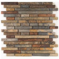 Satin Copper Linear Mosaic Tile