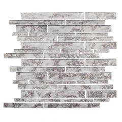 "Wilshire Gray 11"" x 11"" Interlocking Glass Mosaic Tile"