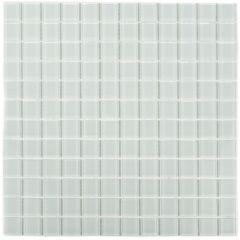 "Winter White 11"" x 11"" Glass Mosaic Tile"