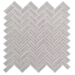 "Weathered Gray Herringbone 10"" x 11"" Mosaic Tile"