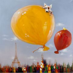 Balloons Over Paris Acrylic Painting