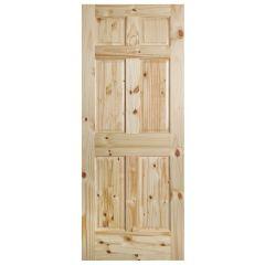 Knotty Pine 6 Panel Interior Door