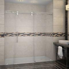 """72"""" Stainless Steel Frameless Sliding Shower Door"""