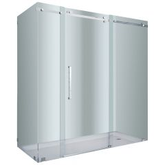 """72"""" Stainless Steel Frameless Shower Enclosure"""