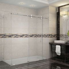 "72"" Stainless Steel Sliding Shower Enclosure"