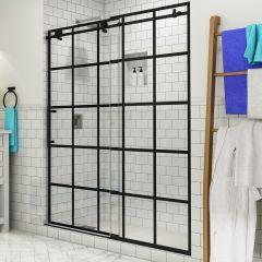 """Vienne 56-60"""" Frameless French Style Sliding Shower Door - Matte Black - Left"""
